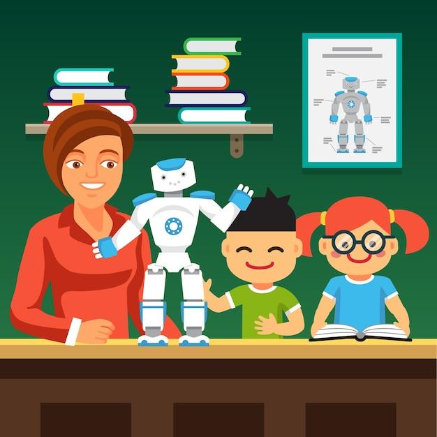 Estudantes que aprendem robotica com professor e robô Vetor grátis