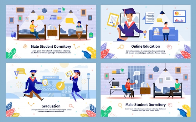 Estudantes universitários educação vector plana cartazes conjunto Vetor Premium