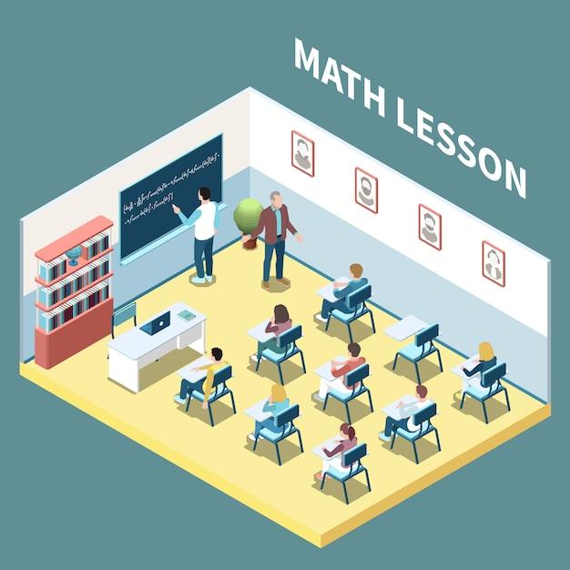 Estudantes universitários na composição isométrica de lição de matemática ilustração em vetor 3d Vetor grátis