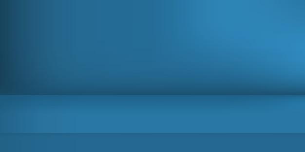 Estúdio de cor azul vazio. fundo da sala, exposição do produto com espaço de cópia para a exibição do design de conteúdo. ilustração. Vetor Premium