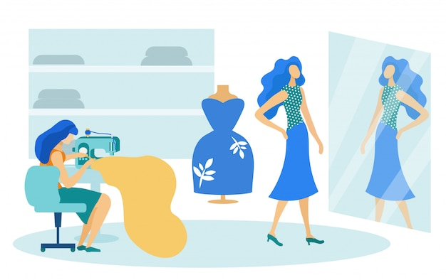 Estúdio de costura, mulher e cliente experimentando roupas Vetor Premium