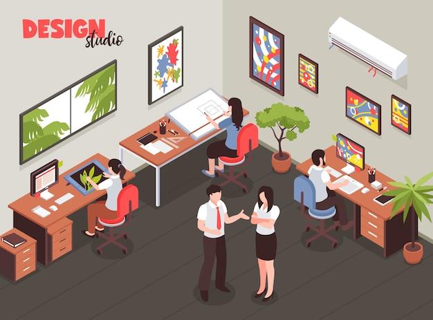 Estúdio de design com liderança e artistas durante o processo criativo no local de trabalho ilustração em vetor isométrica Vetor grátis