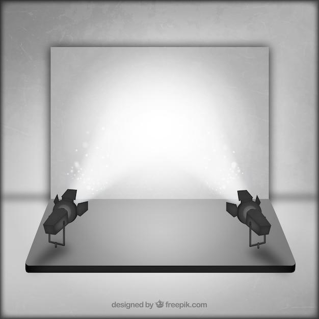 Estúdio de fotografia com palco iluminado Vetor grátis