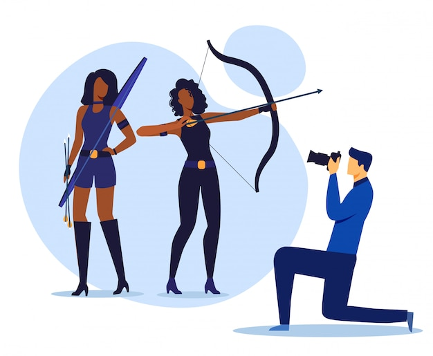 Estúdio de fotografia, ilustração em vetor plana photoshoot Vetor Premium