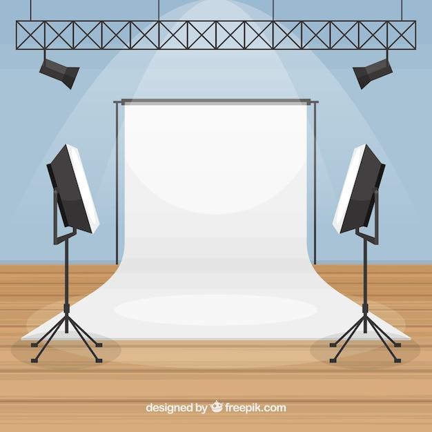 Estúdio fotográfico com luzes Vetor grátis