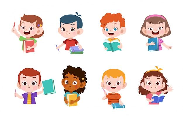 Estudo de crianças Vetor Premium