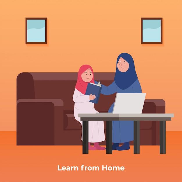 Estudo online em casa arabian little girl aprende com a mãe Vetor Premium