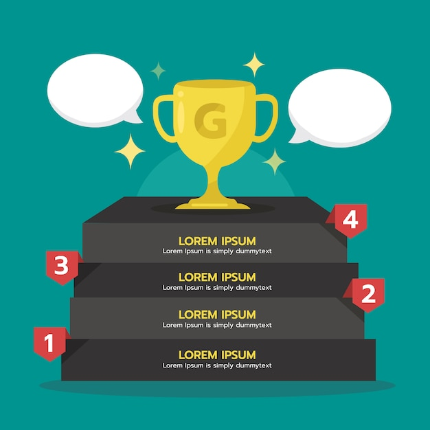 Etapa de infográfico para o sucesso com a copa do troféu de ouro. vencedor, elemento gráfico. Vetor Premium