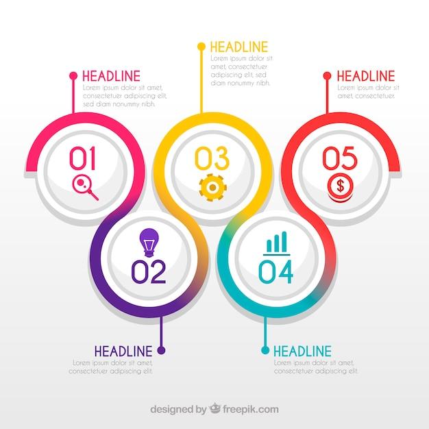 Etapas coloridas infográfico Vetor grátis