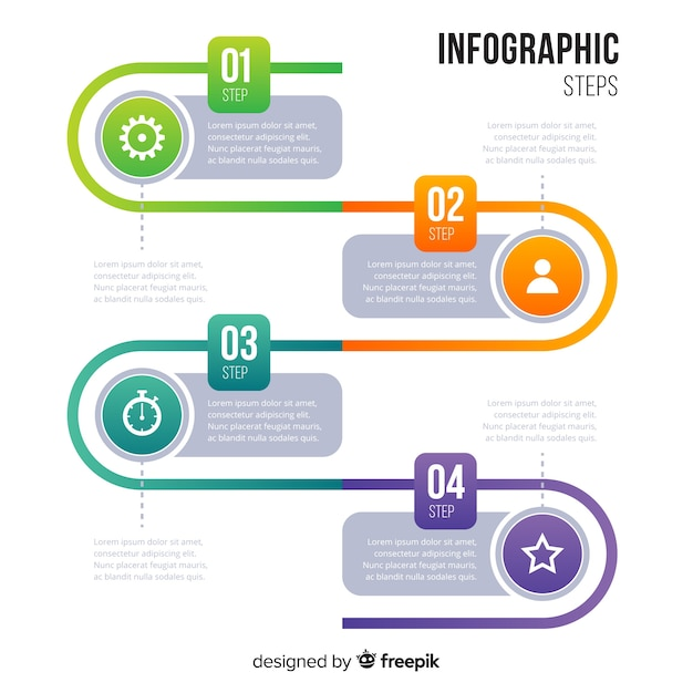 Etapas de gradiente infográfico Vetor grátis