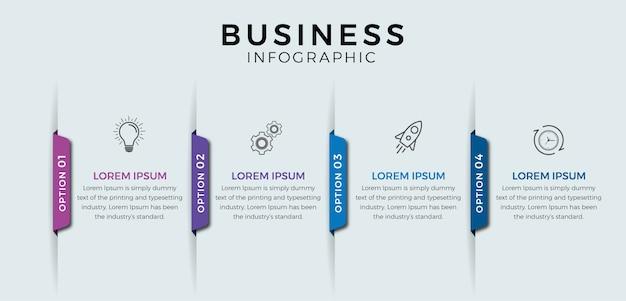 Etapas de infográfico de negócios Vetor Premium