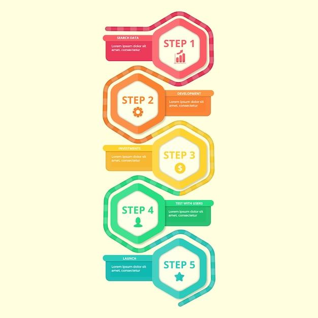 Etapas de infográfico design plano Vetor grátis