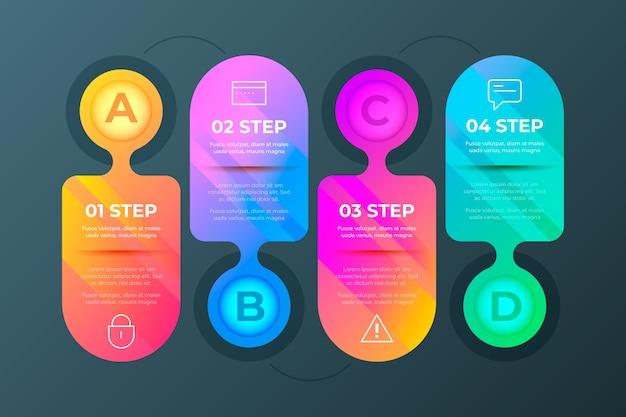 Etapas de infográfico gradiente colorido Vetor grátis