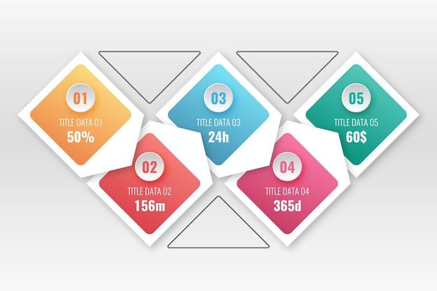 Etapas de infográfico gradiente Vetor grátis