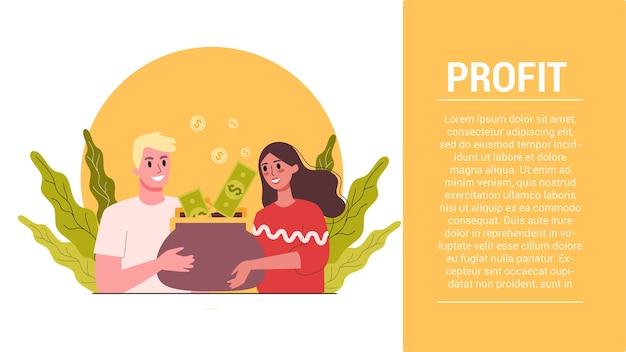 Etapas de inicialização. banner da web de lucro empresarial. ideia de aumento, ganhos e crescimento. Vetor Premium