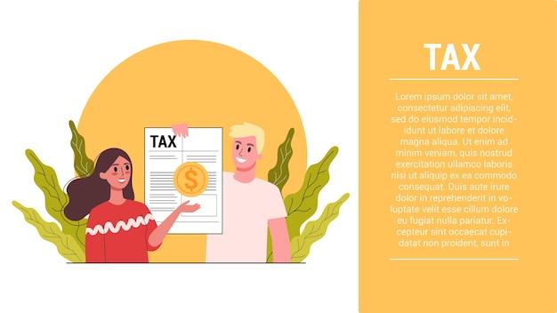 Etapas de inicialização. conceito de imposto. ideia de contabilidade e pagamento. conta financeira. dados no documento e na papelada. Vetor Premium