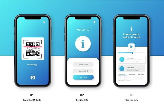 Etapas de verificação de código qr no smartphone Vetor Premium