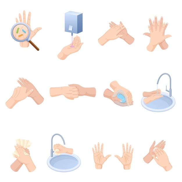 Etapas do cuidado adequado das mãos, lavagem, manutenção preventiva de bactérias Vetor Premium