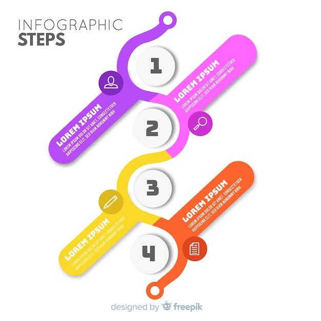 Etapas planas infográfico Vetor grátis