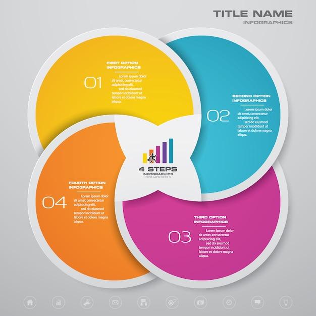 Etapas processam o elemento infográficos do gráfico. Vetor Premium