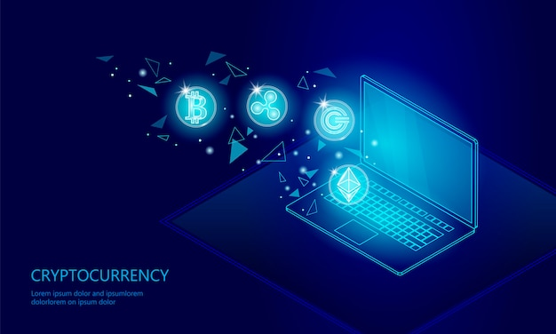 Ethereum bitcoin ripple moeda digitais cryptocurrency laptop pc célula web Vetor Premium