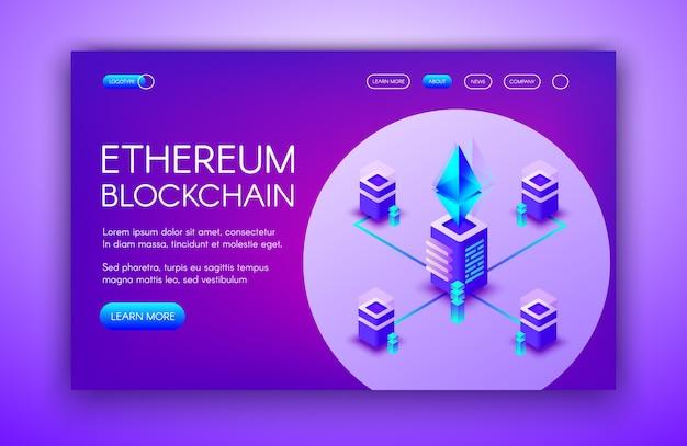 Ethereum cryptocurrency ilustração de servidores blockchain na fazenda de mineração ether. Vetor grátis
