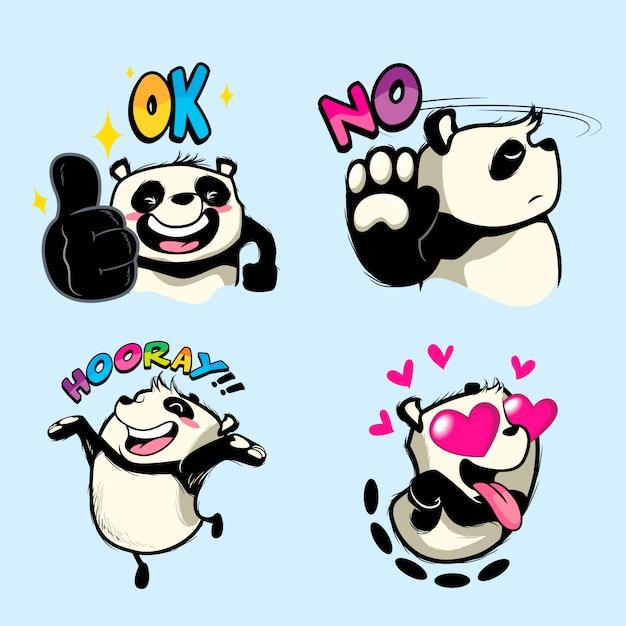 Etiqueta bonito do panda, remendos da panda Vetor Premium