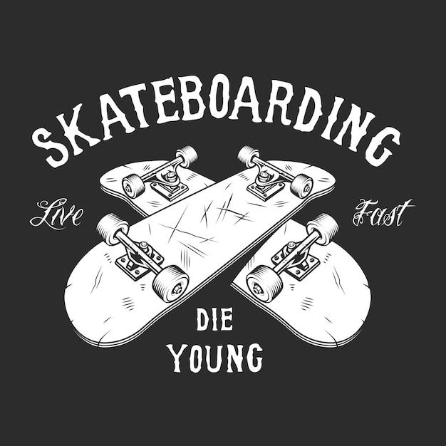 Etiqueta branca de skate vintage Vetor grátis
