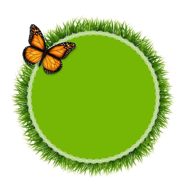 Etiqueta com grama e borboleta, ilustração Vetor Premium