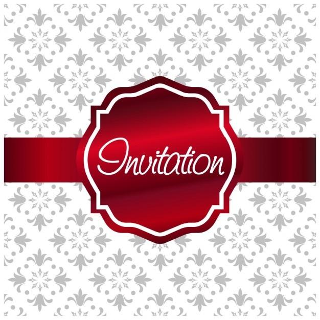 etiqueta convite vermelho no fundo floral branco