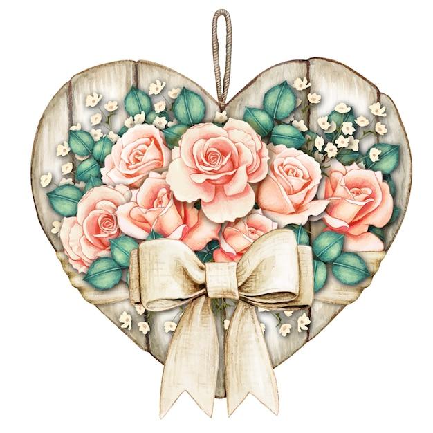 Etiqueta de coração de madeira branca rústica e chique em aquarela com rosas cor de pêssego Vetor Premium