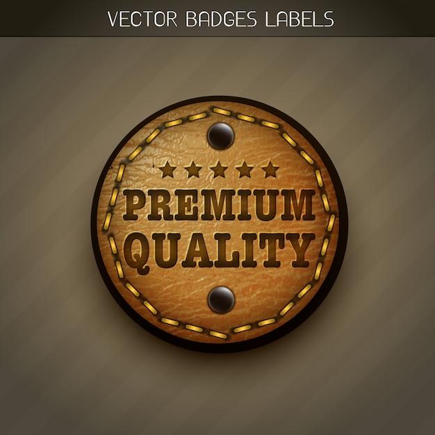 Etiqueta de couro Vetor Premium