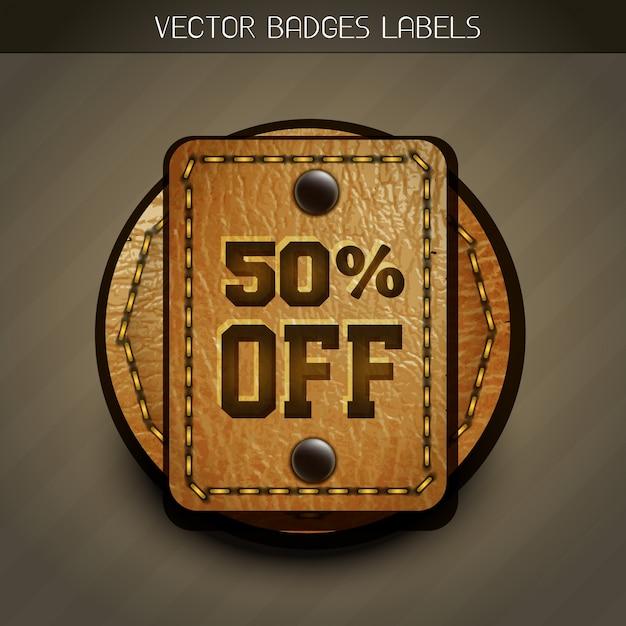 Etiqueta de desconto de couro Vetor Premium