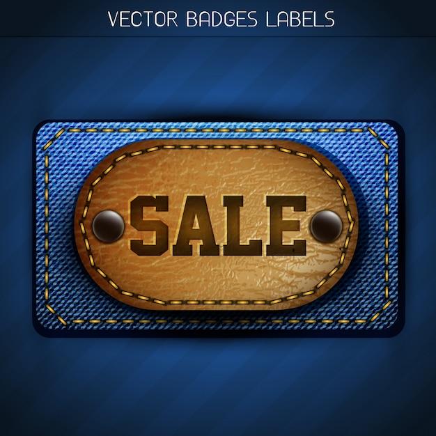 Etiqueta de jeans elegante e venda de couro Vetor grátis