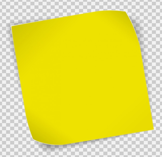 Etiqueta de papel amarelo sobre fundo transparente Vetor Premium