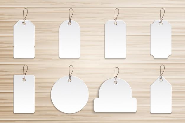 Etiqueta de preço de coleção na placa de madeira Vetor Premium