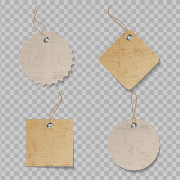 Etiqueta de preço realista com textura. crie etiquetas de papel orgânico Vetor Premium
