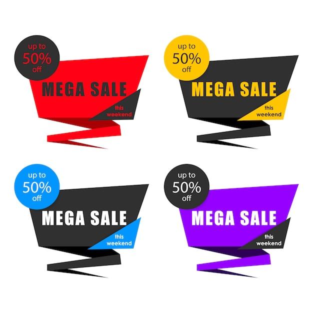 Etiqueta de venda, faixa de preço, modelo de crachá, etiqueta Vetor Premium