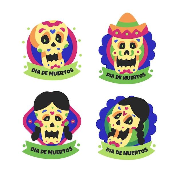Etiqueta dia de muertos de caveiras para meninos e meninas Vetor grátis