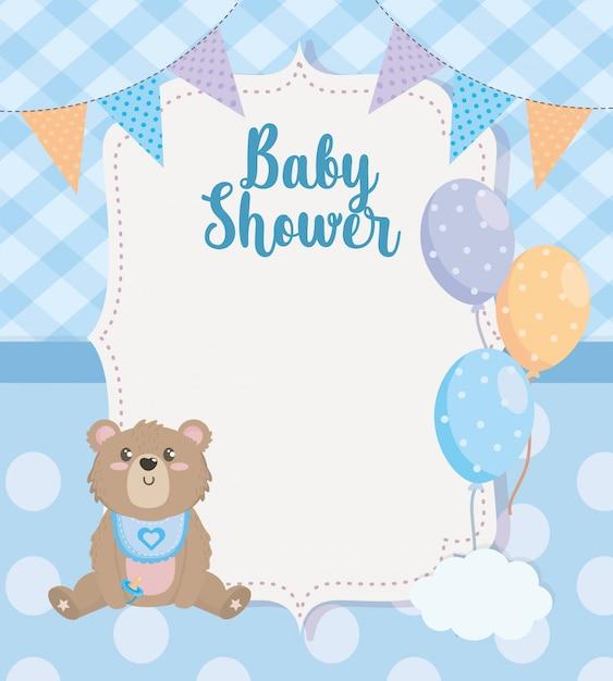 Etiqueta do banner de festa com ursinho de pelúcia e balões Vetor grátis