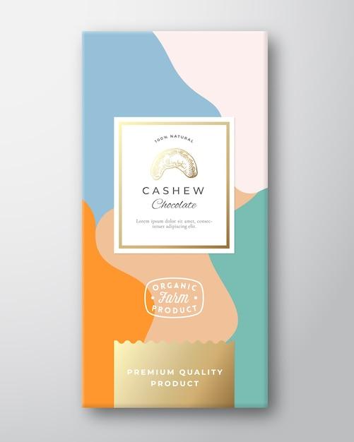 Etiqueta do chocolate de caju. layout de embalagem abstrato com sombras suaves realistas. Vetor grátis
