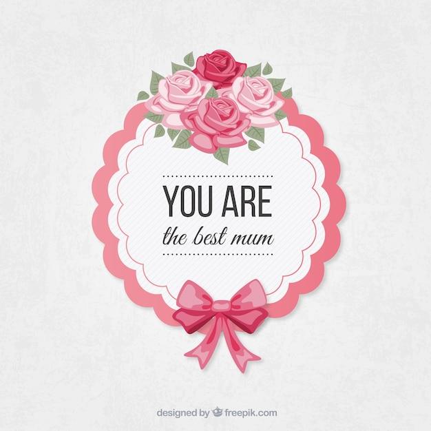 Etiqueta do dia das mães Floral Vetor grátis