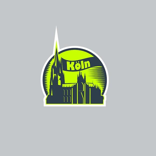 Etiqueta do logotipo abstrato da cidade de colônia. Vetor Premium