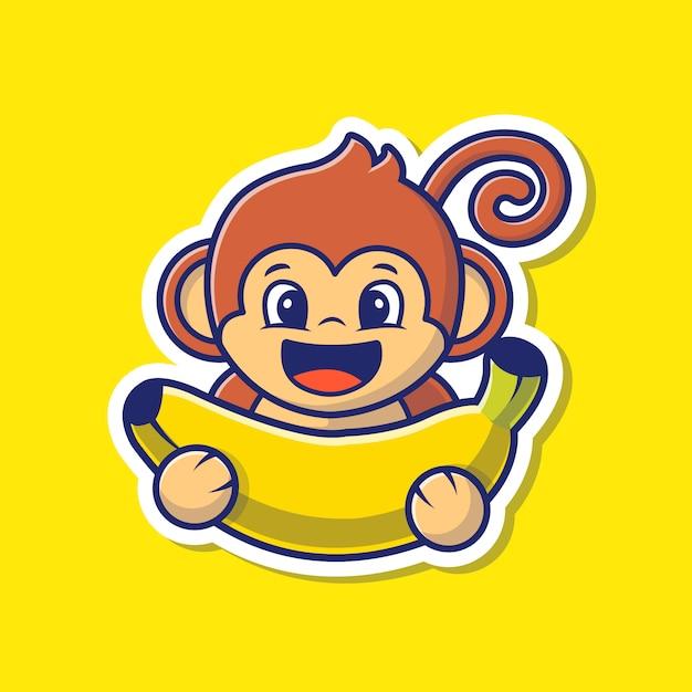 Etiqueta do macaco e do vetor da banana ilustração. Vetor Premium