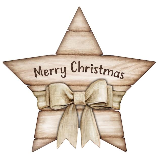 Etiqueta estrela de madeira branca rústica e chique em aquarela com laço Vetor Premium