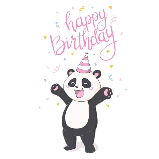 Etiqueta feliz da panda do birthray no backround branco. Vetor Premium