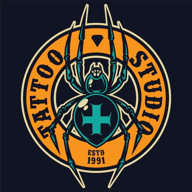 Etiqueta redonda colorida de salão de tatuagem Vetor grátis