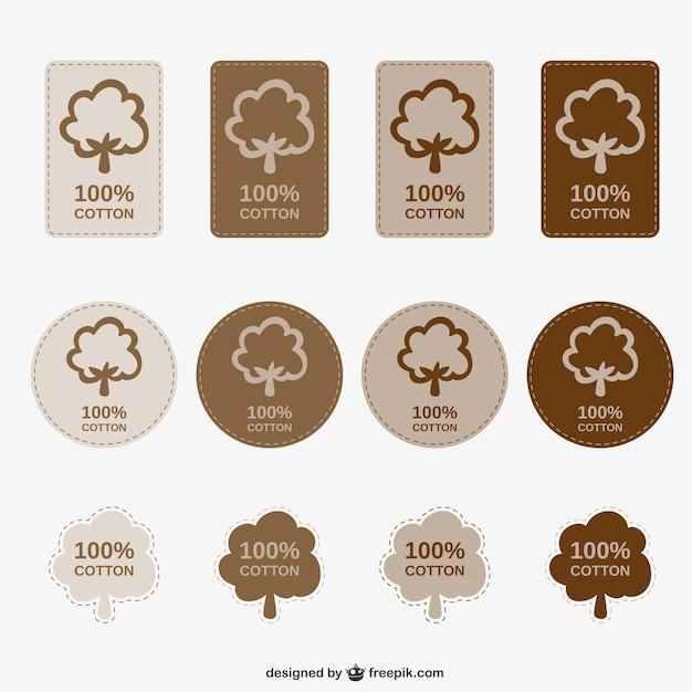 Etiquetas 100% algodão embalar Vetor grátis