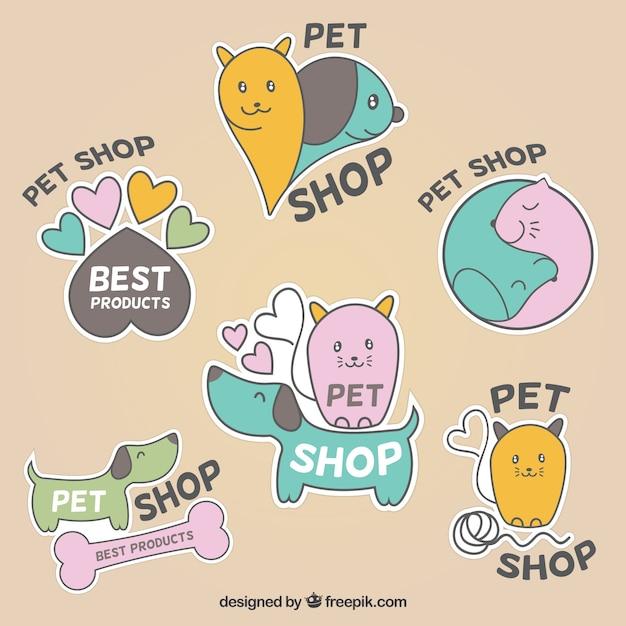 Etiquetas bonitos para pet shop Vetor grátis