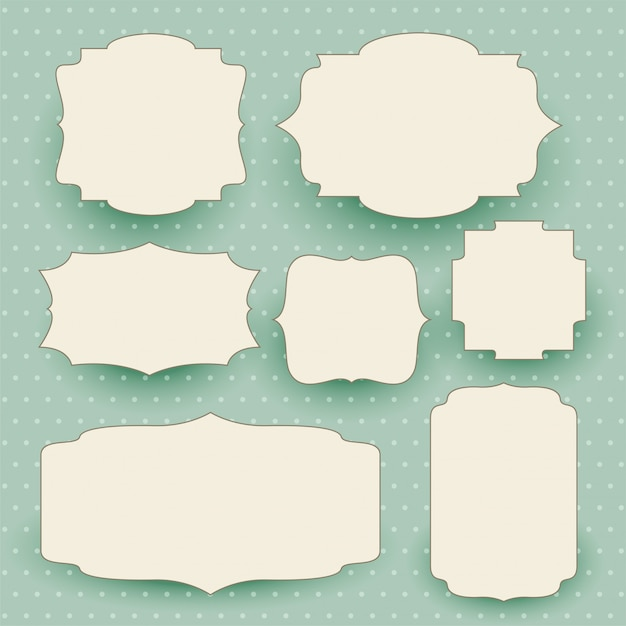 Etiquetas brancas vintage conjunto com espaço de texto Vetor grátis